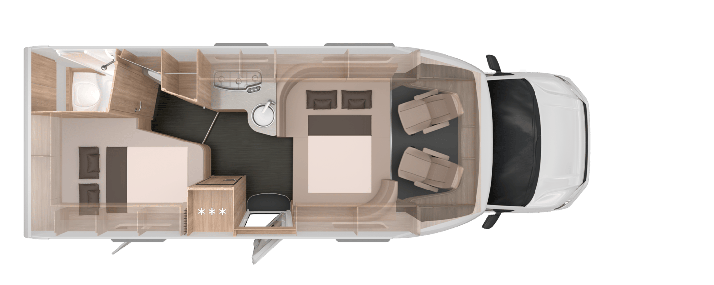 A nighttime view of the 700 MF floor plan with dinette converted to a bed