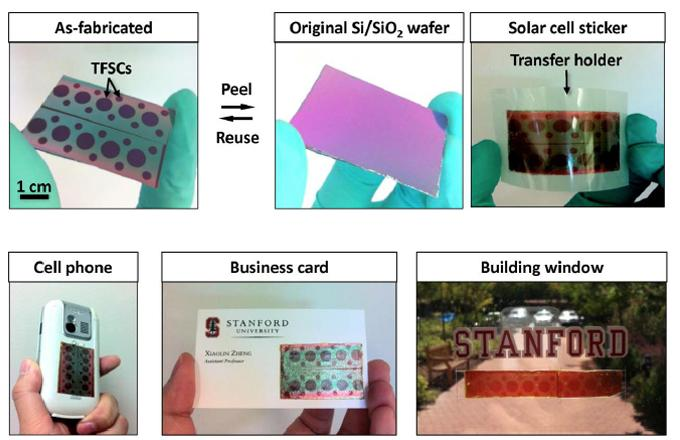 Scientists at Stanford University have created thin, flexible solar panels that can be applied to almost any surface, like a sticker