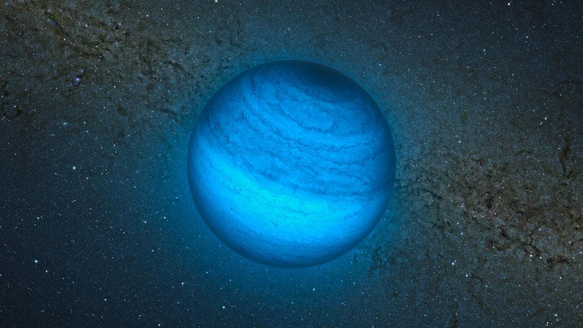 Artist's impression of CFBDSIR2149, the rogue planet wandering through space roughly 100 light years from our solar system (Image: ESO/L. Calçada/P. Delorme/Nick Risinger (skysurvey.org)/R. Saito/VVV Consortium)
