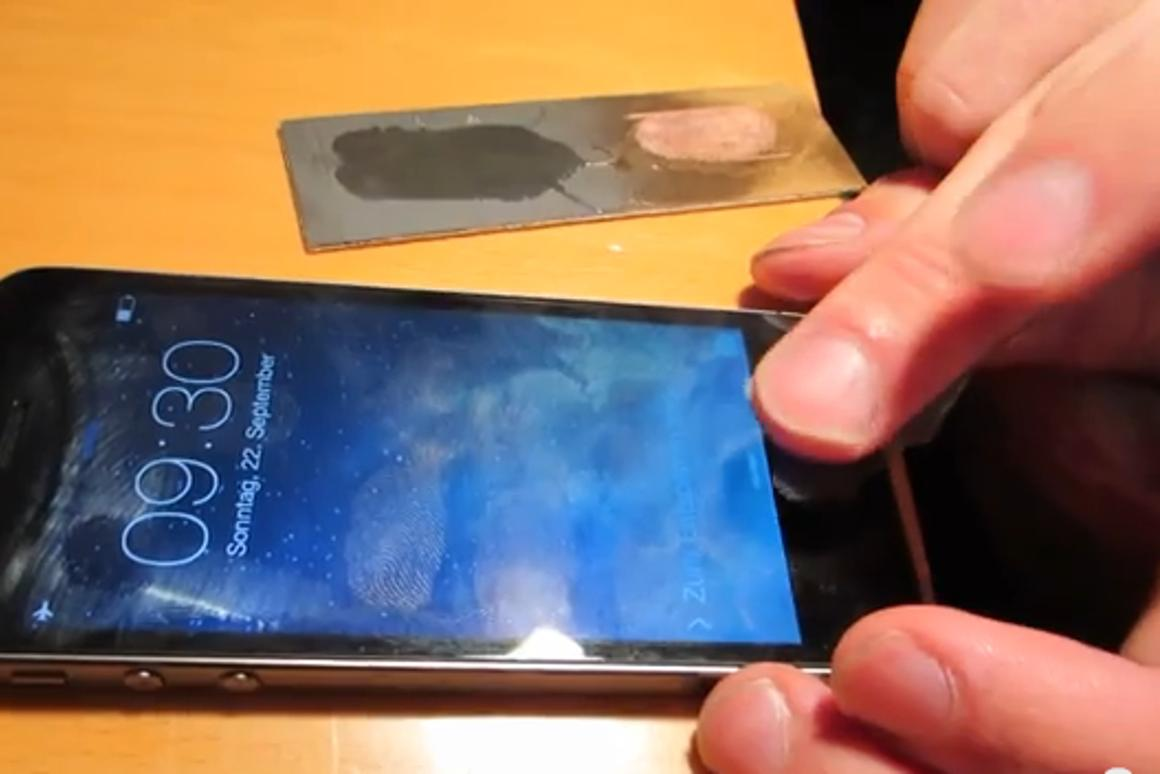 Hackers demonstrate a workaround to Apple's touted Touch ID system (photo from Starbug's video demoing the trick)
