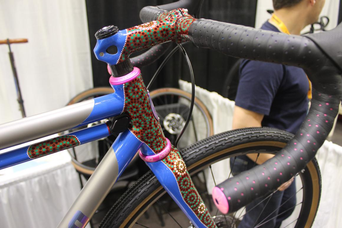 The paint job on this Mooro Cycles gravel bike may look abstract, but it's actually a map of North America's Pacific Northwest region