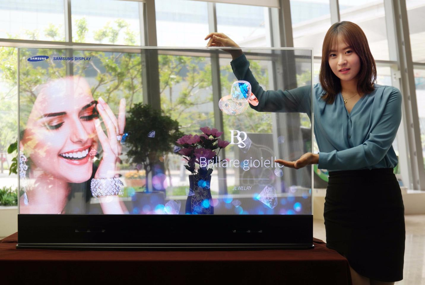 Samsung's 55-inch Transparent OLED display at Retail Asia Expo 2015 in Hong Kong