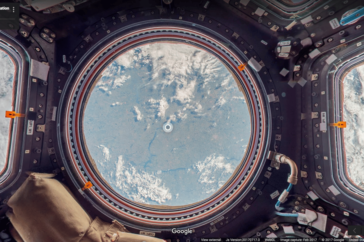 The Cupola Observation Module aboard the ISS, as seen through Google's Outer Space View