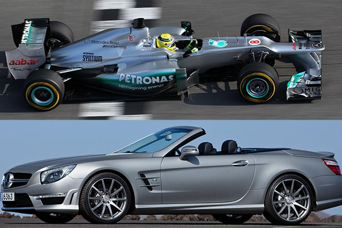 The Mercedes-Benz SL63 AMG and Mercedes AMG Petronas F1 car unveiled together
