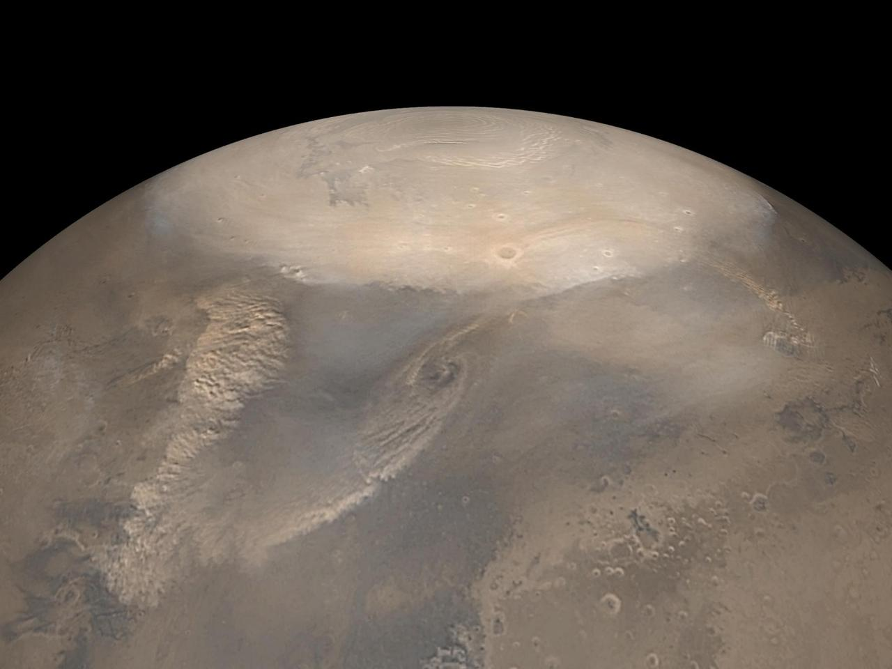Dust storms on Mars, like these snapped in 2008, could behave in a similar way to dry hurricanes