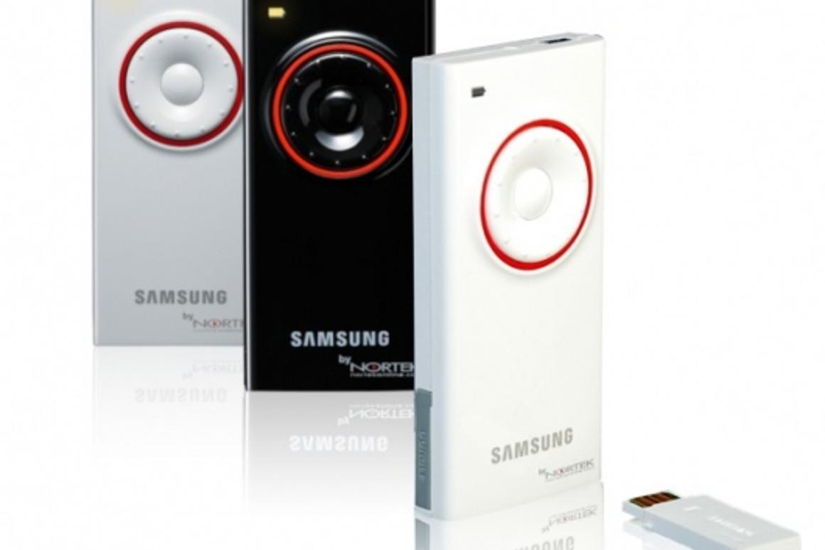 The Nortek Duplus mini wireless presenter/mouse, co-designed by Samsung, comes in piano finish white, black and silver