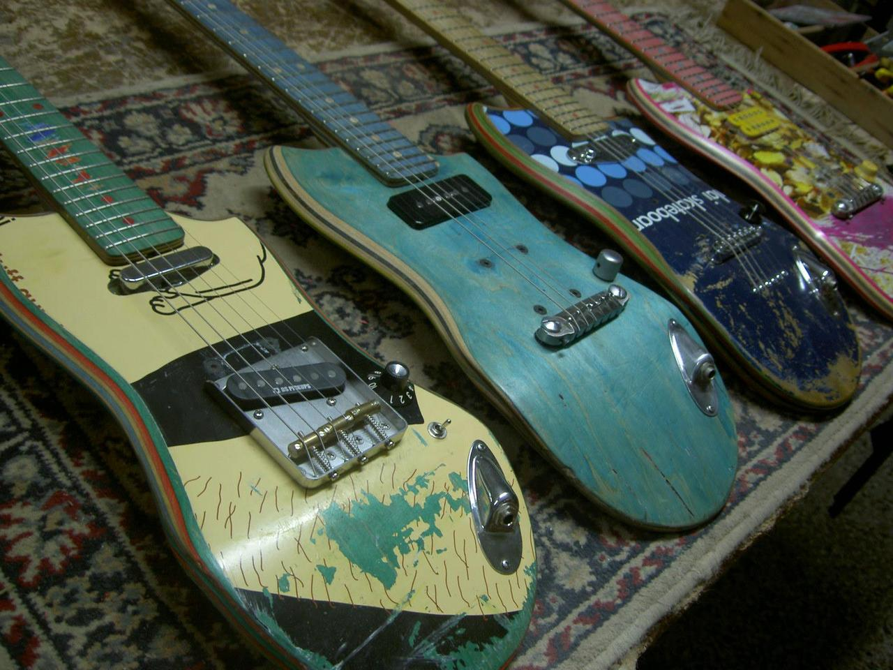 Skate Guitars are repurposed from old skateboard decks