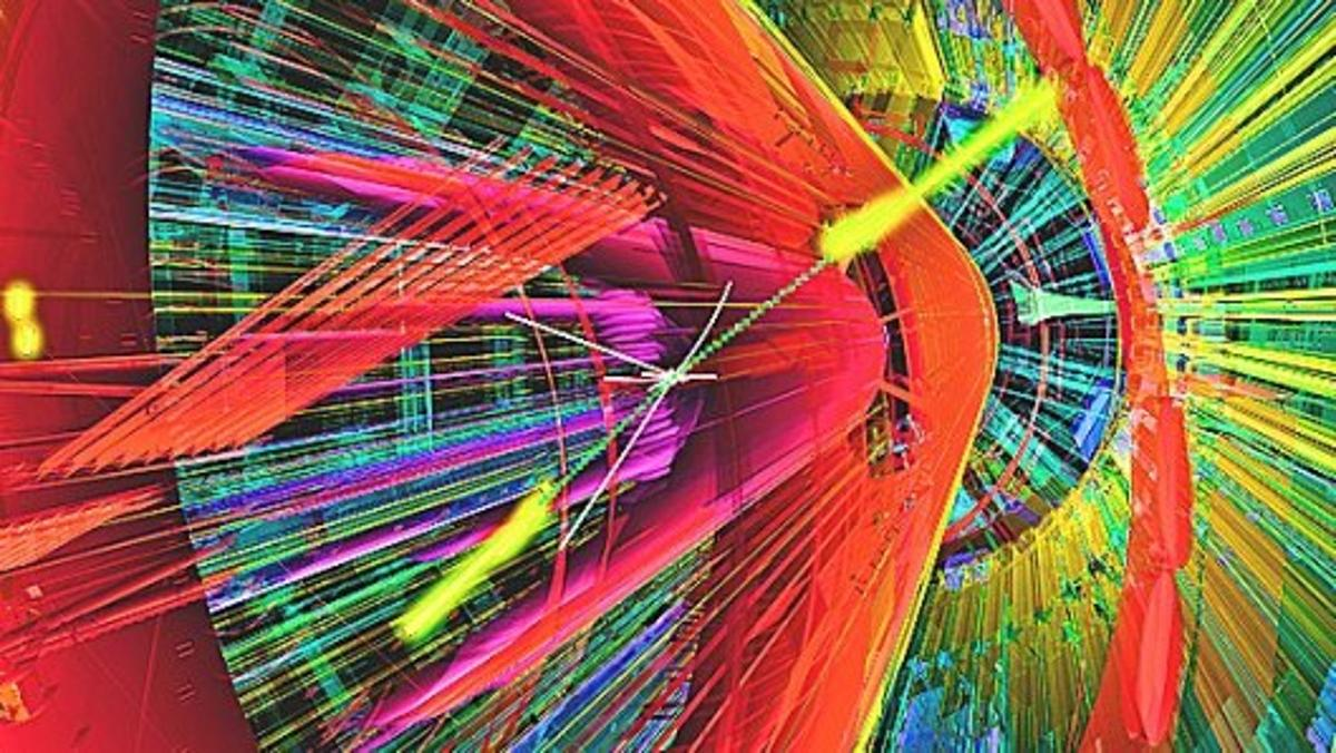 Artist's impression of a proton-proton collision producing a pair of gamma rays (yellow) in the ATLAS detector (Image: CERN)