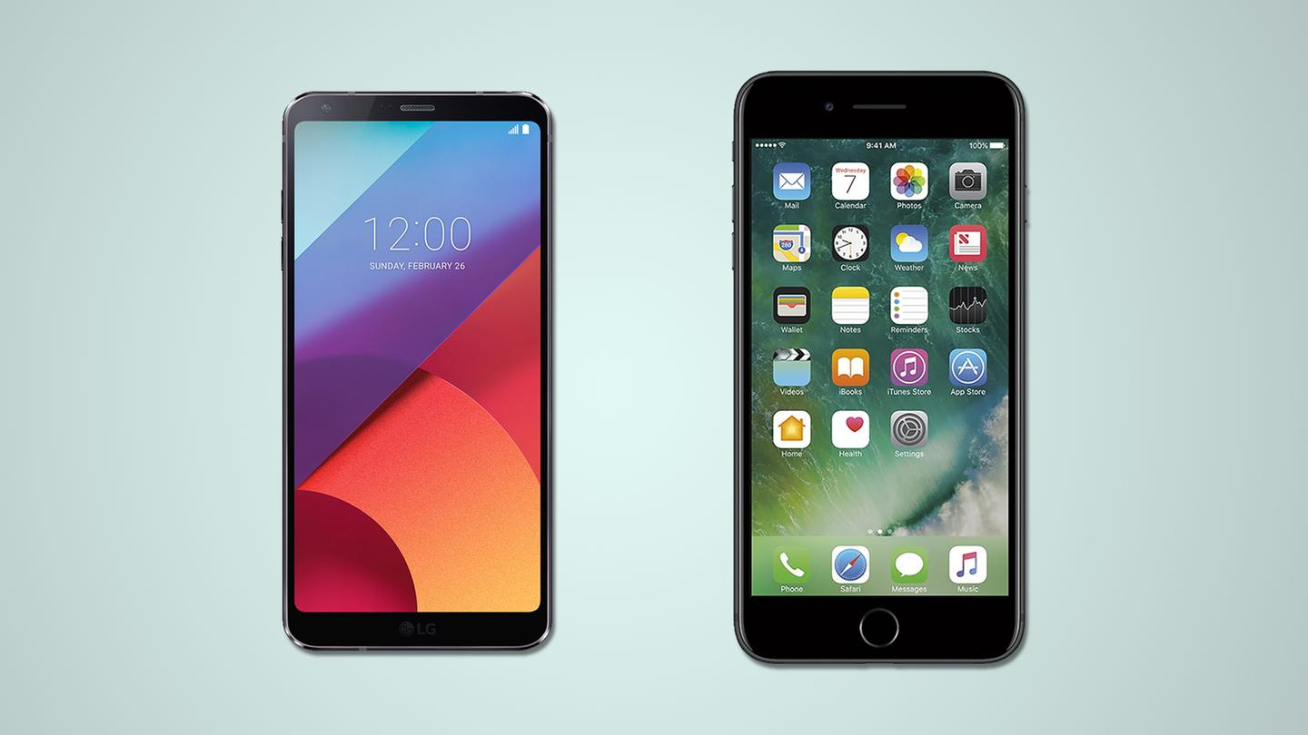 A side-by-side comparison of the LGG6 and iPhone 7 Plus