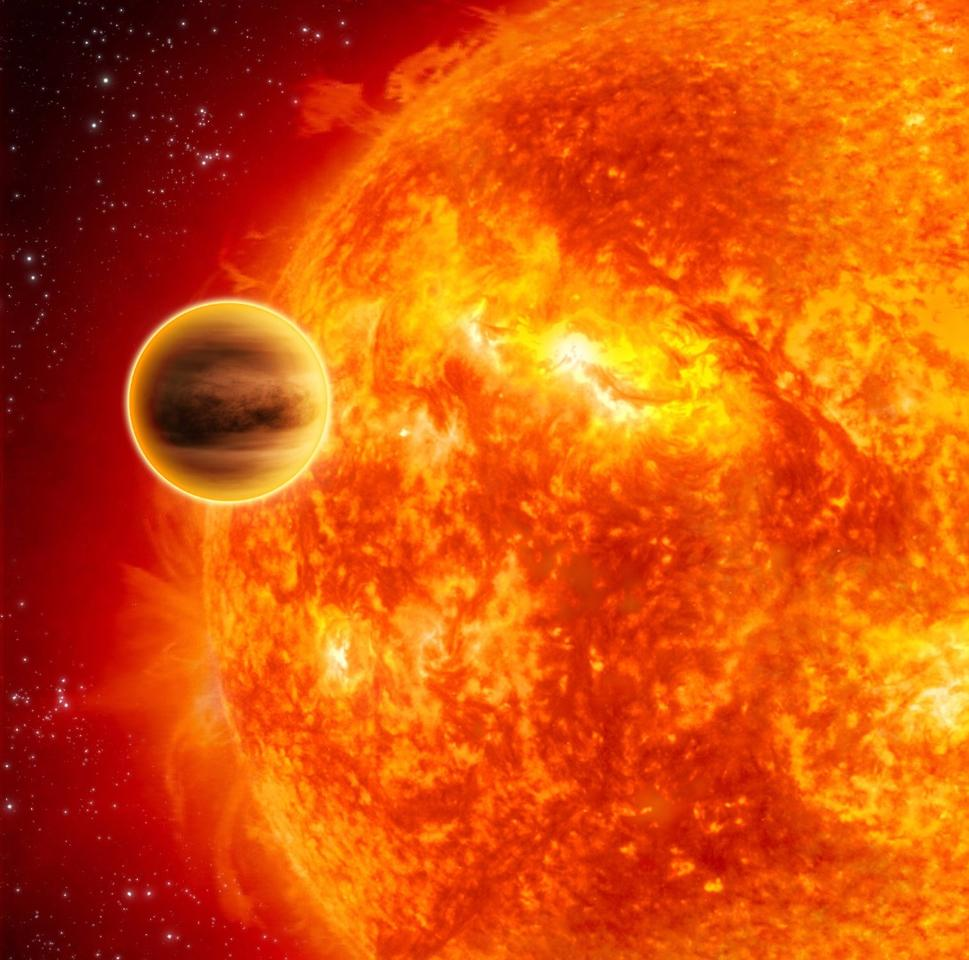 Artists impression of a gas giant exoplanet passing across the face of its star