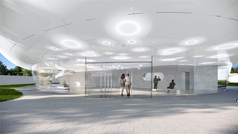 The Aranya Cloud Center will be raised atop a base that creates a lobby area