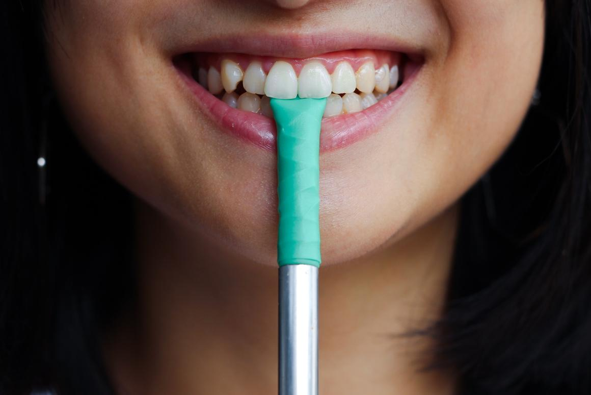 """The Chew straw is a reusable straw with a silicone """"chewable"""" tip"""