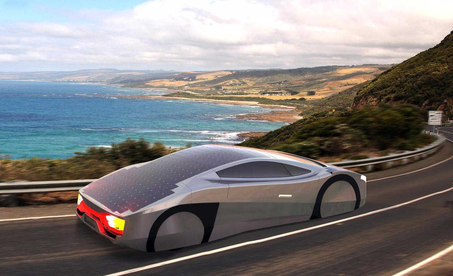 The Immortus is so light and aerodynamic, has such a light footprint on the road and so many built-in solar panels, that it is designed to drive for an unlimited range on a sunny day