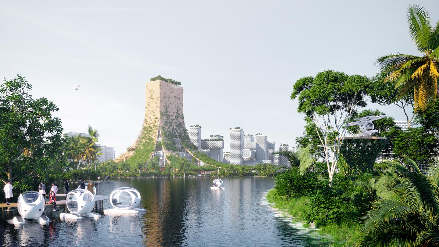 BiodiverCity's business-oriented island, The Mangroves, would feature a bamboo tower at its center