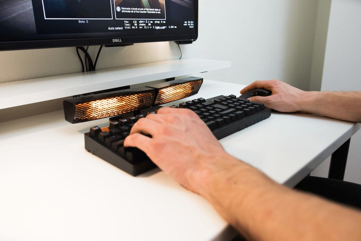 The Envavo Heatbuff is an infrared hand-warmer that doesn't heat up the device itself or the keyboard