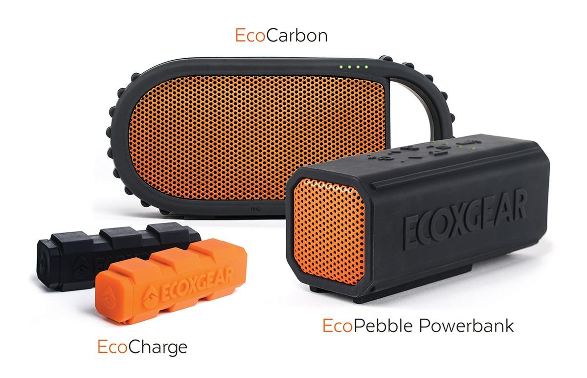 Ecoxgear's latest products include the Sol Jam (not shown), EcoCarbon, EcoPebble Powerbank, and EcoCharge external battery