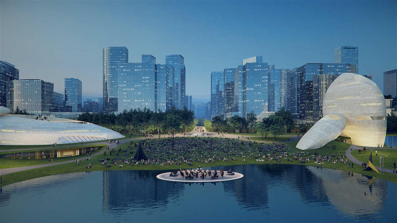 В его культурном парке в Шэньчжэньском заливе будет расположен зеркальный бассейн, представляющий собой пространство для выступлений.