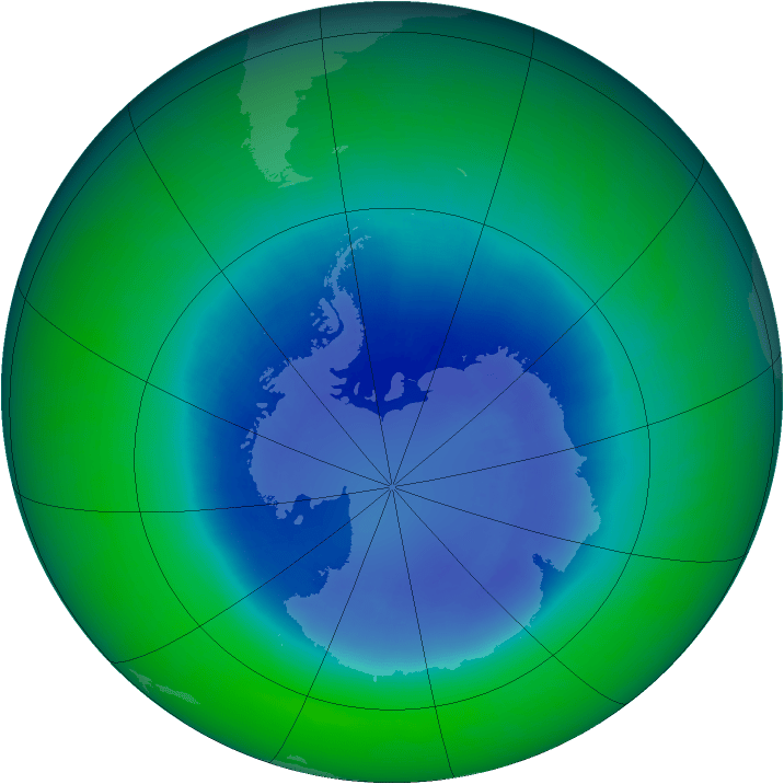 Total Ozone Mapping Spectrometer (TOMS) image of the ozone hole over Antarctica in September 2010 Credit: NASA