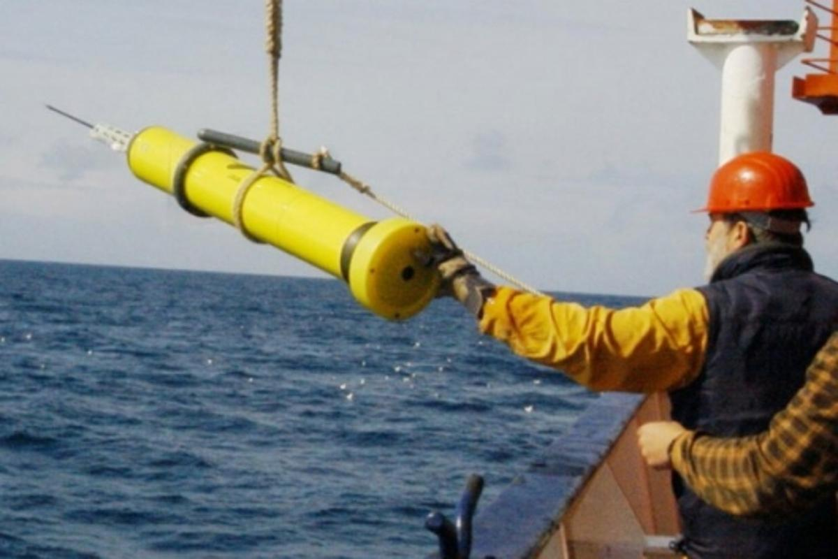 Preparing to deploy an Argo float from a research vessel