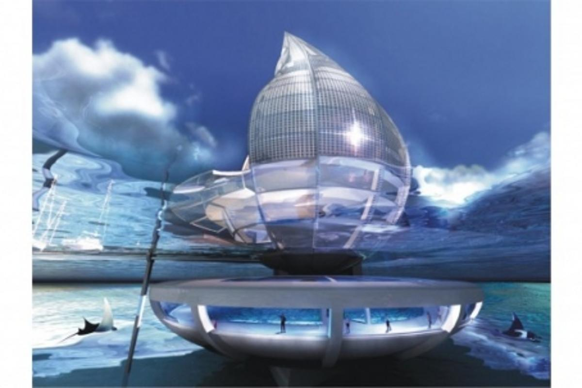 The eye-catching Water Building resort will use solar and air power to make clean drinking water
