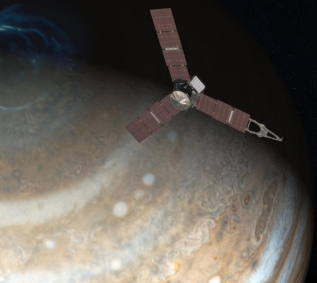 Artist's concept of Juno passing over the north pole of Jupiter
