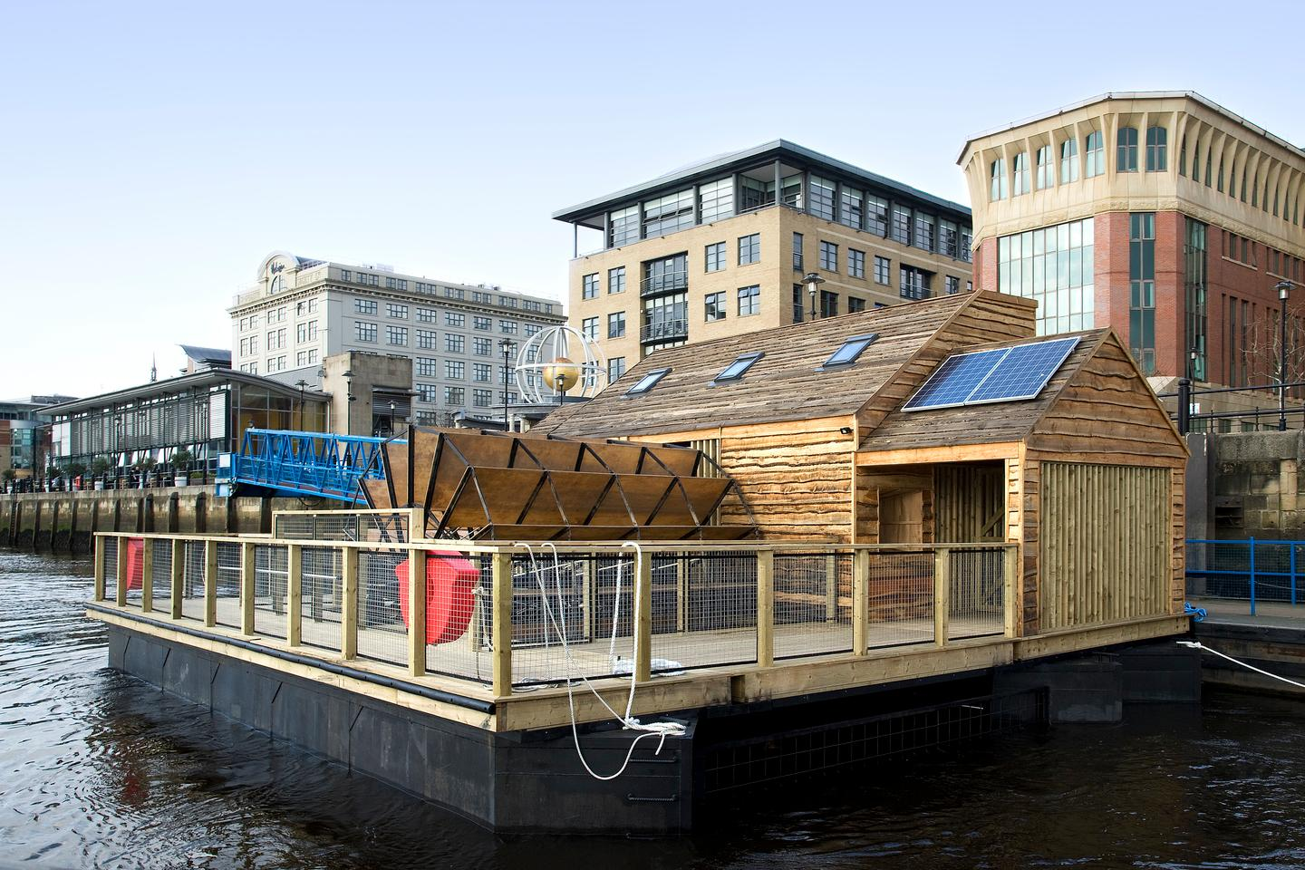 A floating watermill on England's Tyne incorporates electroacoustic instruments powered and influenced by the changing properties of the river