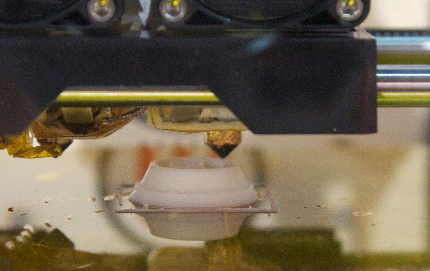 One of Replicator's two MakerBot Stepstruder's in action, at a print speed of 1.57-inches per second