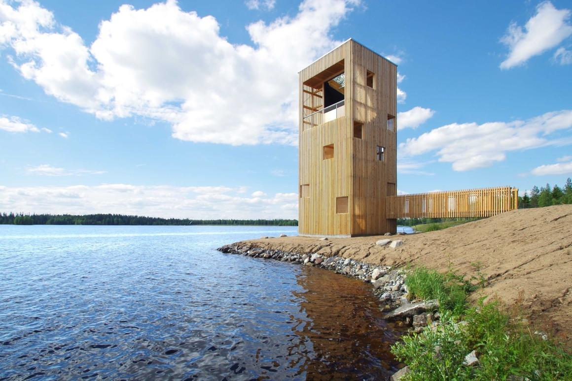 The Periscope Tower located by a man-made lake near Seinäjoki, Finland