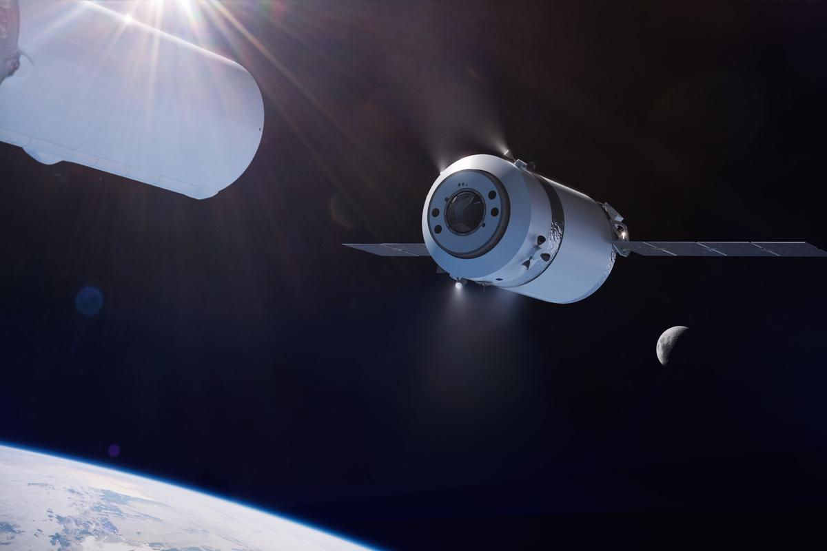 Illustration of the SpaceX Dragon XL as it is deployed from the Falcon Heavy's second stage in high Earth orbit on its way to the Gateway in lunar orbit