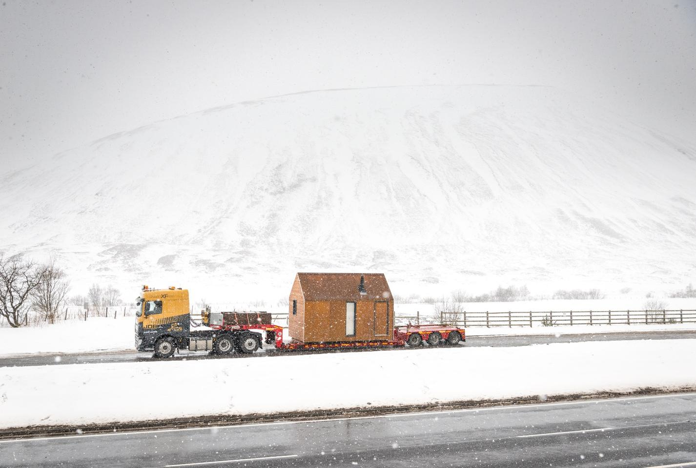The Artist Bothy is delivered on the back of a lorry