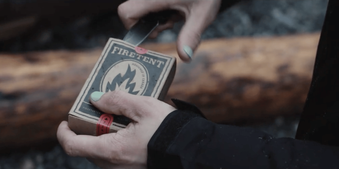 The Firetent pack is designed to be dropped in a pocket, backpack or glove compartment and used as a primary or backup fire starter