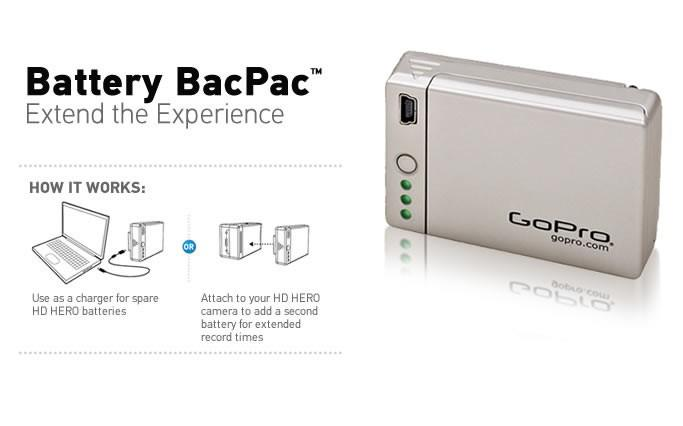 GoPro has just released its Battery BacPac, which allows a second lithium-ion battery to be added to the back of the HERO HD actioncam (Image: GoPro)