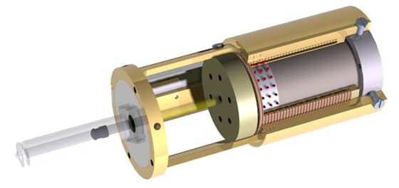 The core of the jet-injection device, which uses a Lorentz-force actuator to deliver a rnage of doses at various depths (Image: MIT BioInstrumentation Lab)