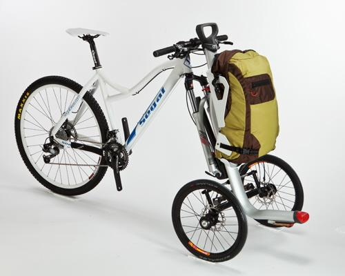 The S-cargo is a prototype carrier that converts a conventional bicycle into a cargo tricycle