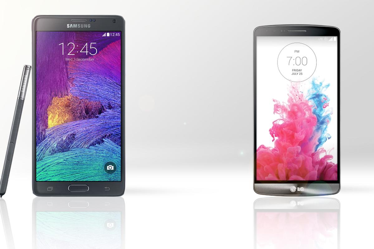 Gizmag compares the features and specs of the Samsung Galaxy Note 4 (left) and LG G3