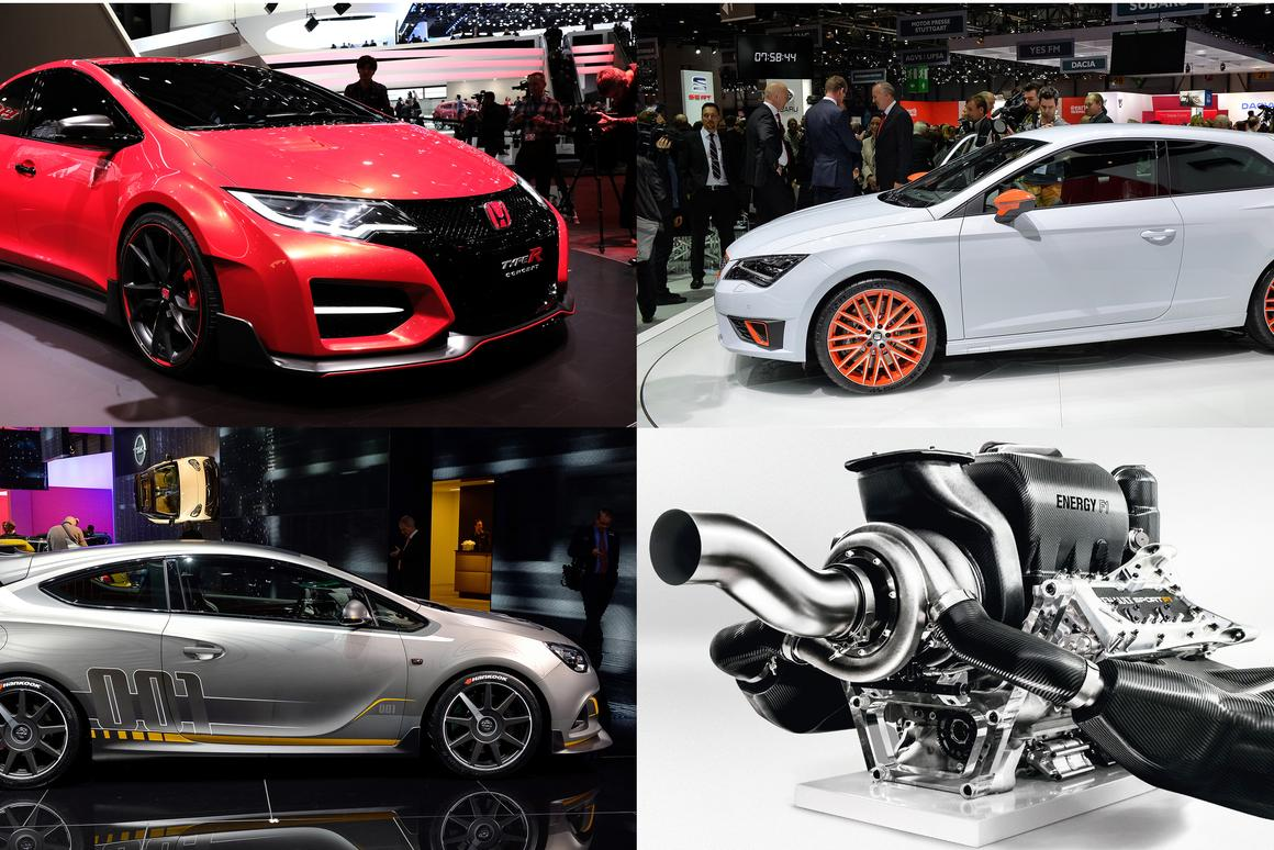 The front-wheel-drive pocket rocket market is likely to become all four-wheel-drive in the next decade as energy management systems dictate that electricity plays a part and in-wheel electric motors join the fray. Can you name the brands behind the four images?