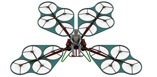 A rendering of a commercial version of the multicopter