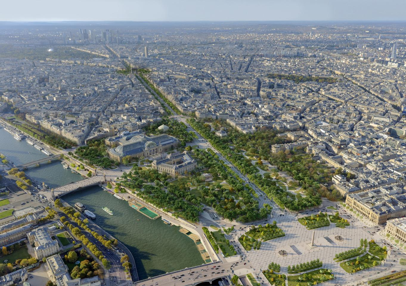 The existing Champs-Élysées gardens will be re-landscaped, with new trees and plants added