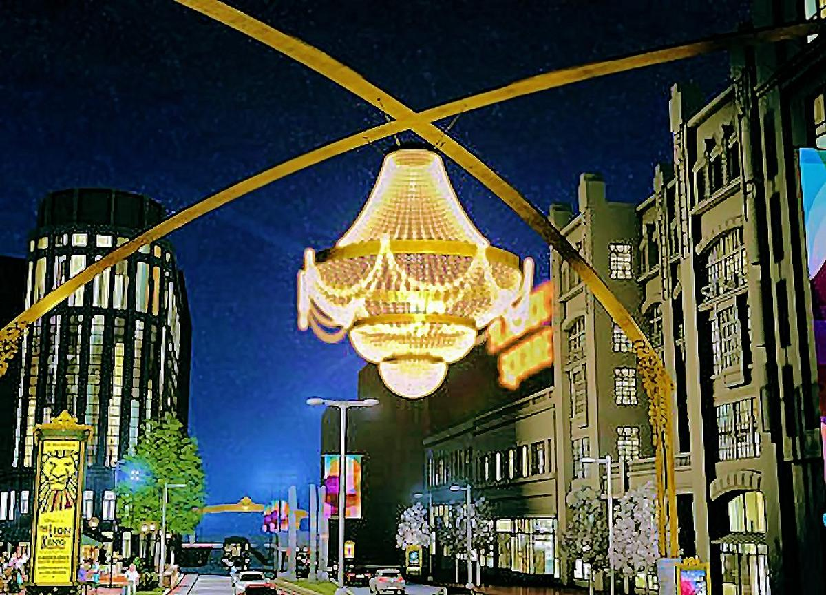 A rendering of the GE Chandelier as it will be mounted high above PlayhouseSquare in Cleveland (Photo: PlayhouseSquare)