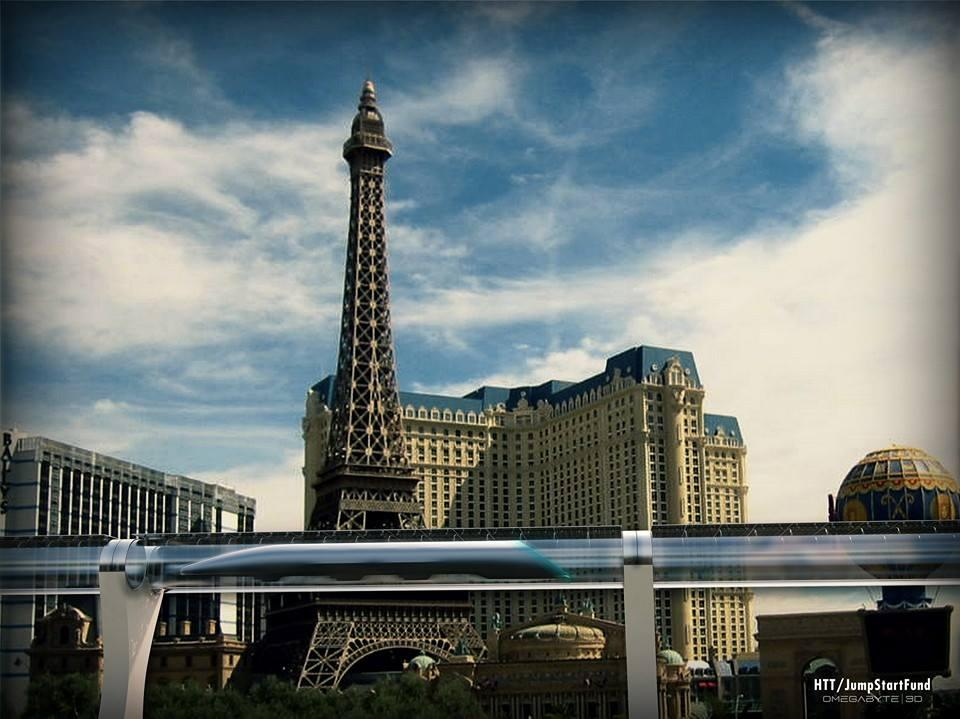 Concept rendering of a Hyperloop track on the strip in Las Vegas (Image: Hyperloop Transportation Technologies)