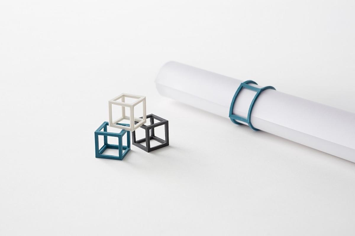 Nendo's cubic rubber bands