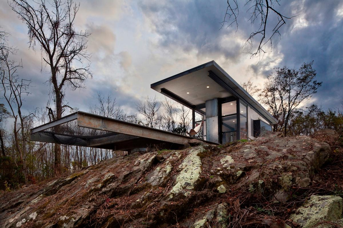 The Lost Whisky Concrete Cabin is situated on a 50 acre (20 hectare) plot just outside Marshall, Virginia