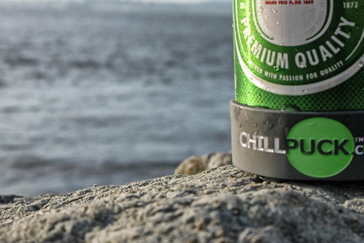 The Chill Puck held to a can with the Chill Band