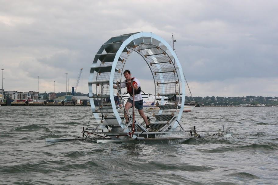 "Thirty-five year old Chris Todd has attempted to ""walk"" across 106 kilometers (66 miles) of open sea in a giant hamster wheel-like raft dubbed Tredalo"