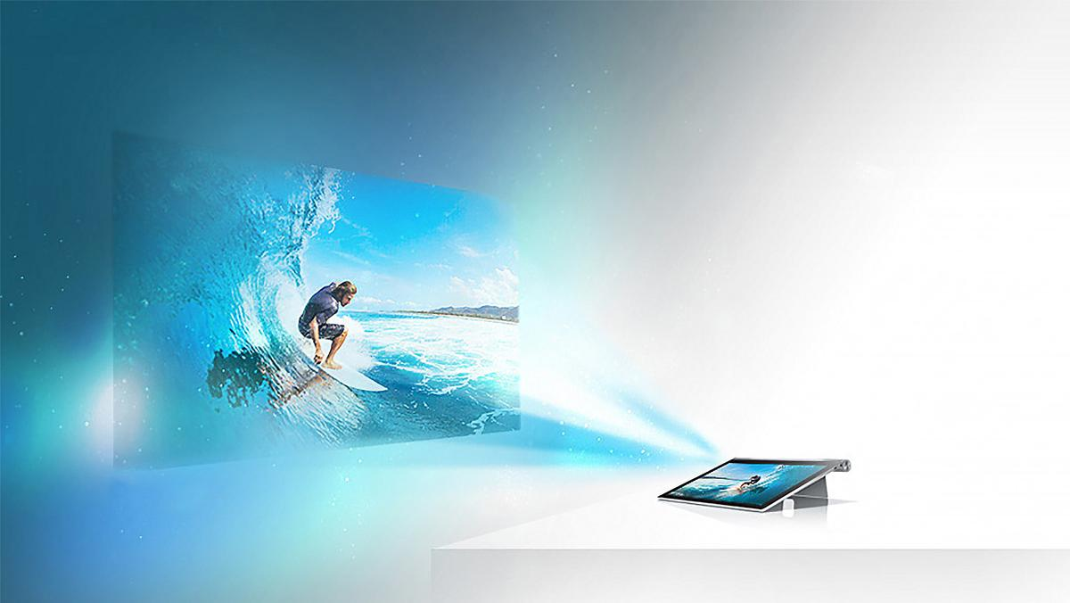 The Yoga Tablet 2's built-in projector in action