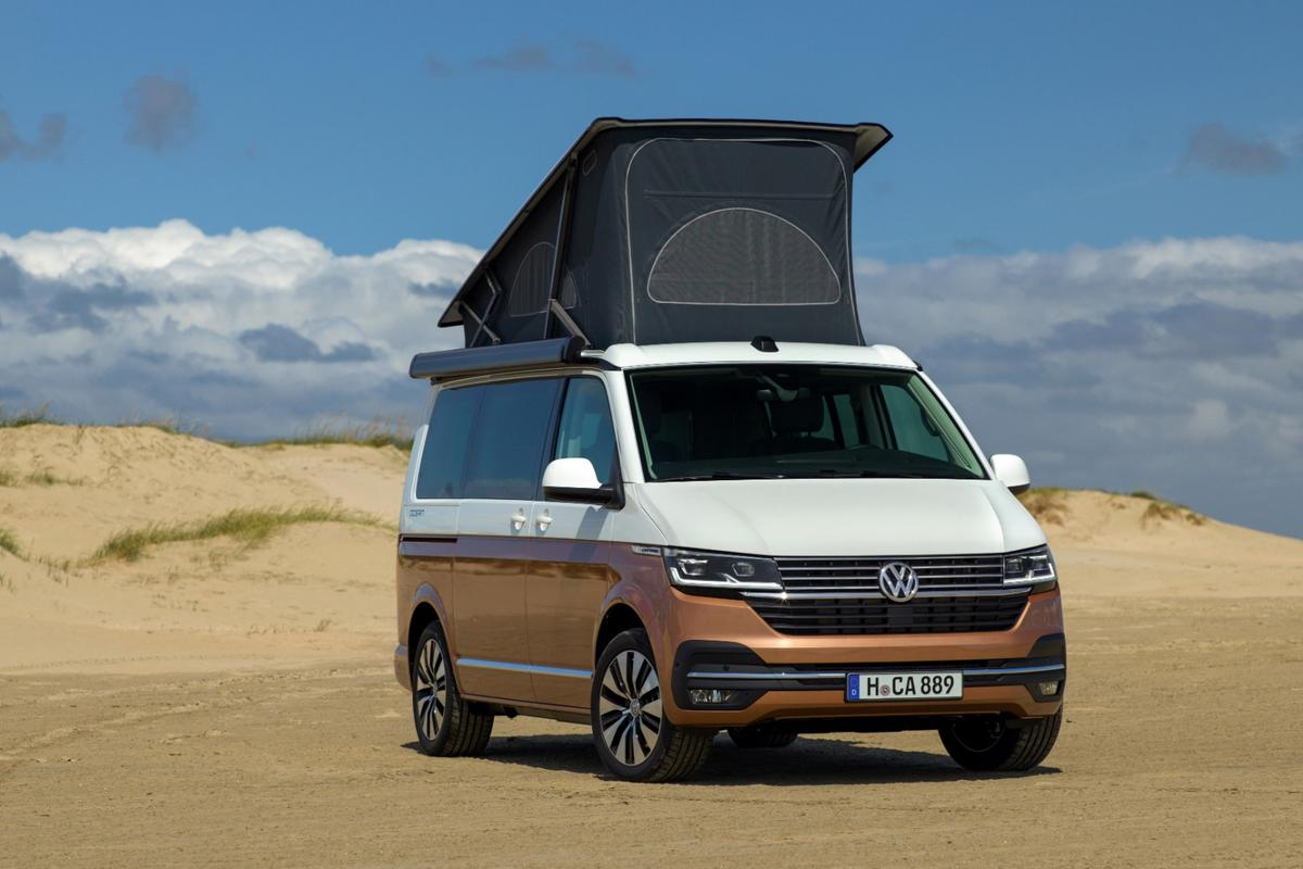 The California 6.1 sleeps two in its pop-up roof and two below, making it a versatile family van