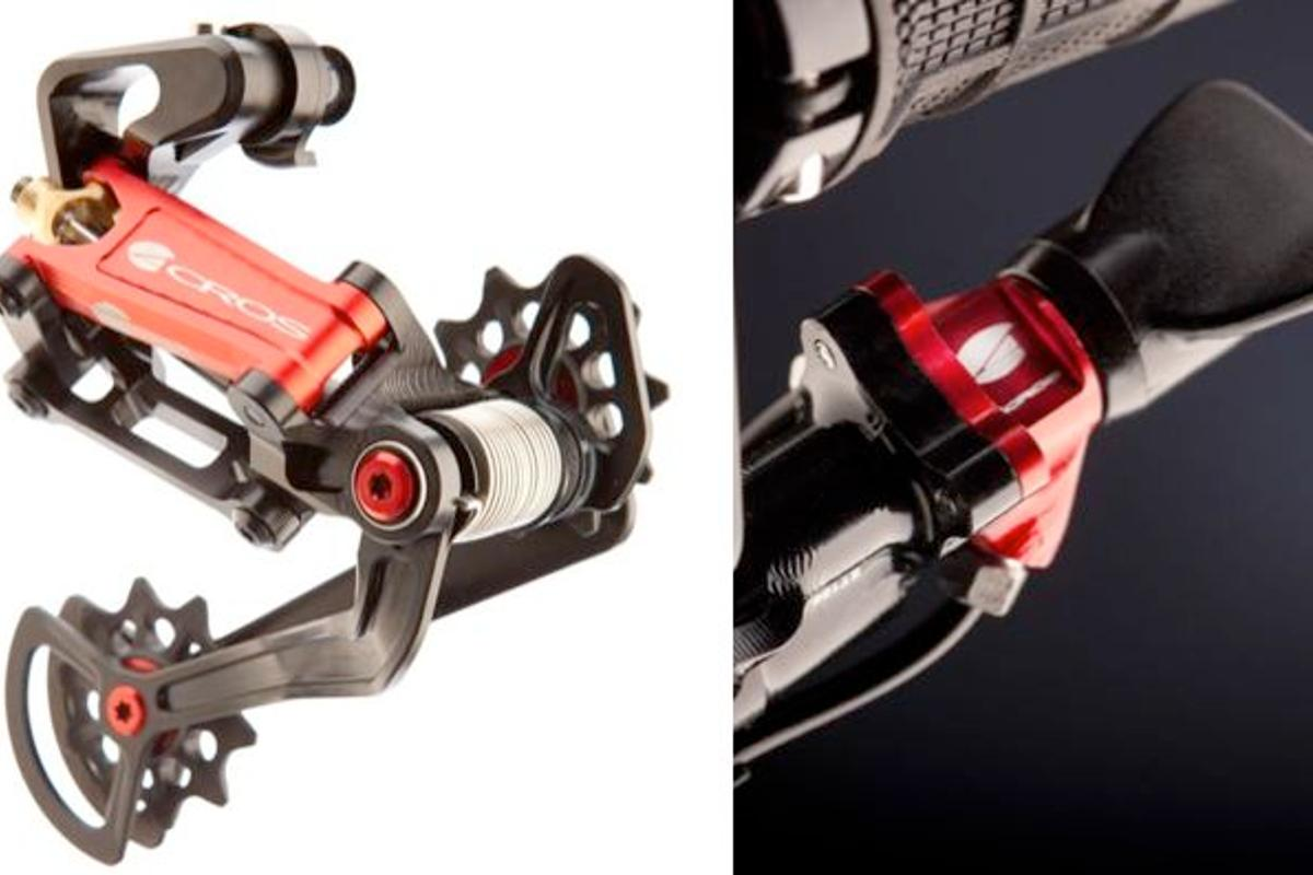 The rear derailleur and shifter for the new AG-E hydraulic shifting system for mountain bikes (Photos courtesy Acros)