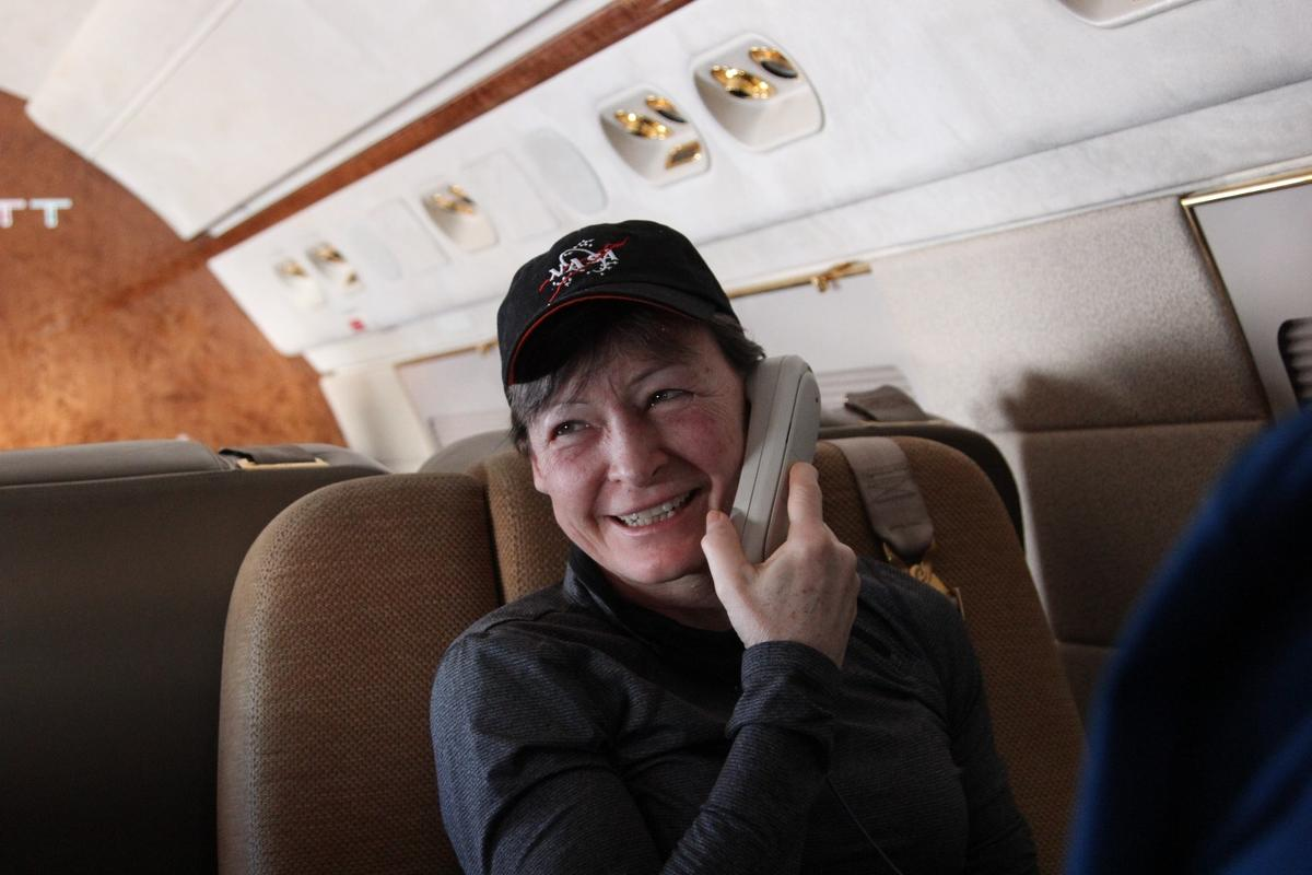 Peggy Whitson landed in Kazakhstan near the remote town of Dzhezkazgan on Sunday evening, and flew back to NASA's Johnson Space Center on the same day