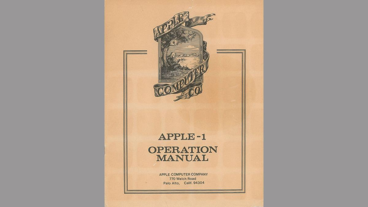 The Apple-1 manual ip for auction features the very first – and very temporary – logo for the company, depicting Sir Isaac Newton sitting under an apple tree