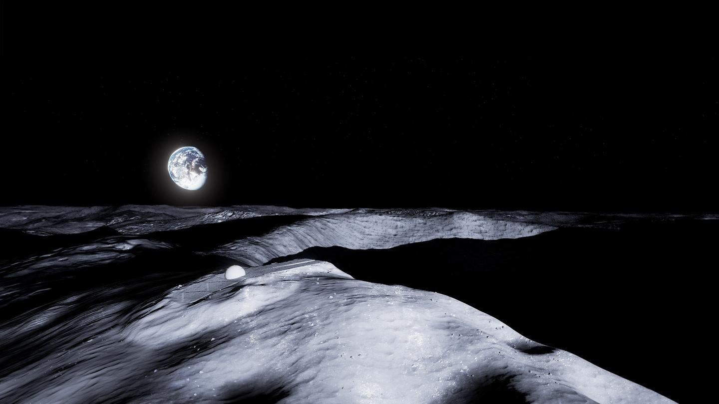 Artist's impression of Earth hanging above the lunar temple